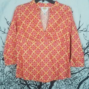 Talbots | Petite Floral Orange & Pink Top medium